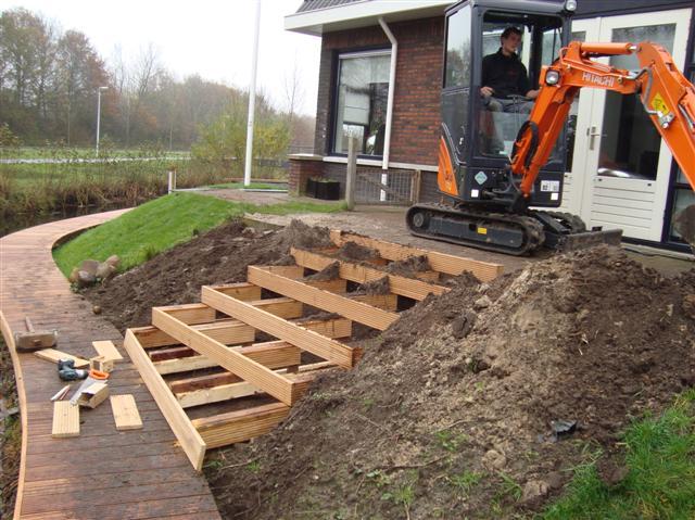 Trap maken tuin hout houten trap maken naar buiten entree for Houten trap buiten